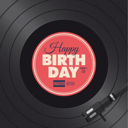 party dj: Carte de joyeux anniversaire de vinyle illustration de fond, conception de vecteur modifiable