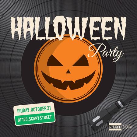 3d halloween: Halloween party poster, vinyl illustration