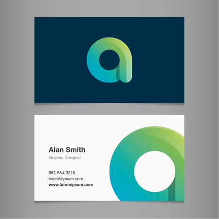 Business card with alphabet letter A. Vector template editable.