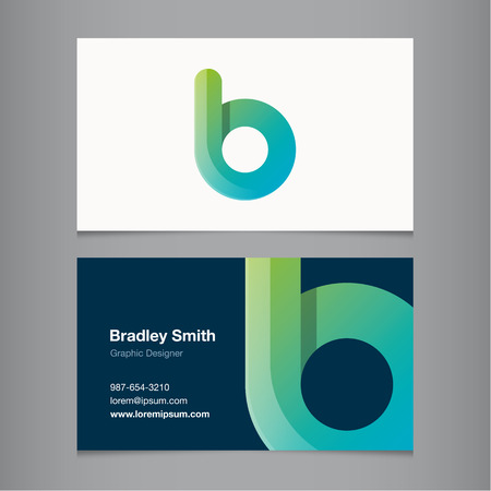 letter b: Business card with alphabet letter B. Vector template editable.