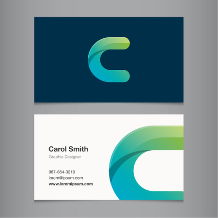 Business card with alphabet letter C. Vector template editable.