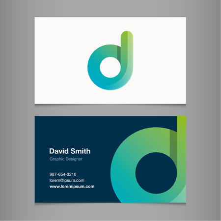 d: Business card with alphabet letter D. Vector template editable.