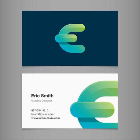 Business card with alphabet letter E. Vector template editable.