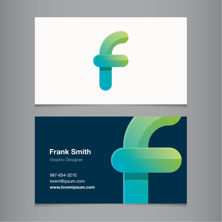 letter f: Business card with alphabet letter F. Vector template editable.