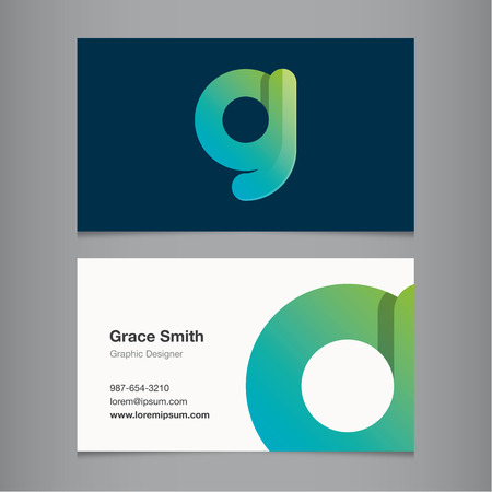 letter g: Business card with alphabet letter G. Vector template editable.