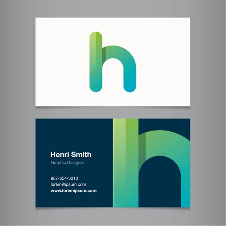 sign h: Business card with alphabet letter H. Vector template editable. Illustration