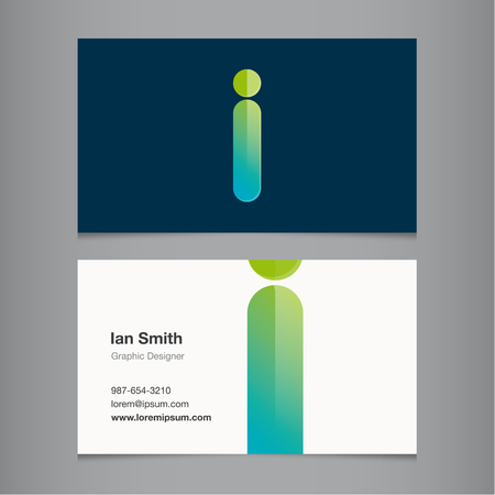 Business card with alphabet letter I. Vector template editable. Illustration
