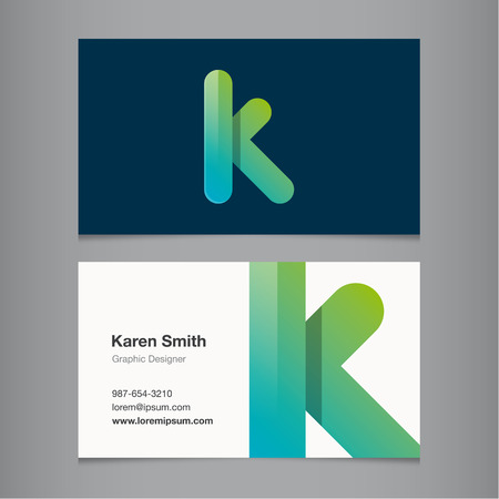 letter k: Business card with alphabet letter K. Vector template editable.