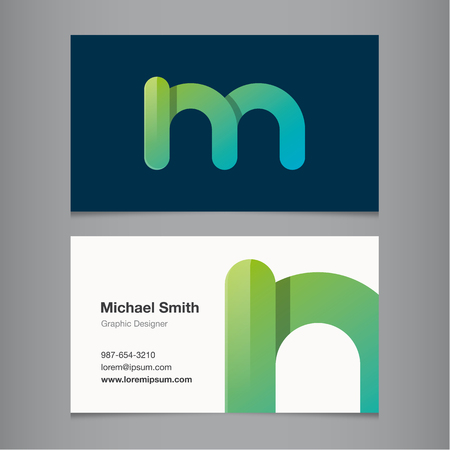Business card with alphabet letter M. Vector template editable.