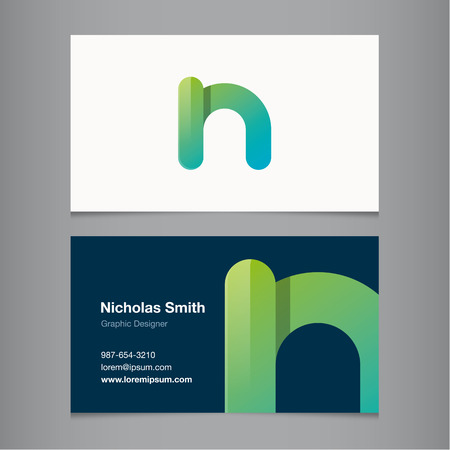 letter n: Business card with alphabet letter N. Vector template editable.