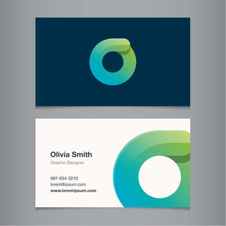 Business card with alphabet letter O. Vector template editable.