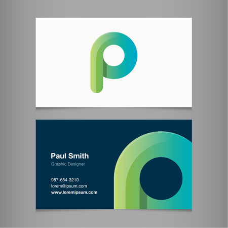 letter p: Business card with alphabet letter P. Vector template editable. Illustration