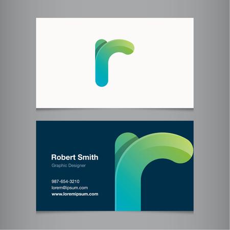 Business card with alphabet letter R. Vector template editable.