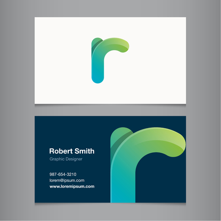 R: Business card with alphabet letter R. Vector template editable.