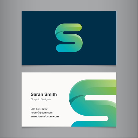 alphabet letters: Business card with alphabet letter S.
