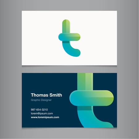 Business card with alphabet letter T. Illustration