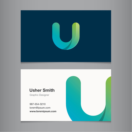 Business card with alphabet letter U.