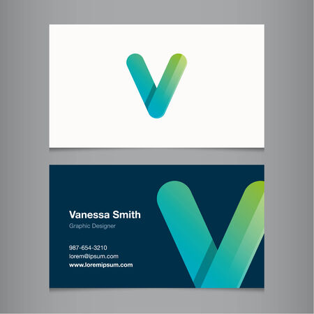 v alphabet: Business card with alphabet letter V.