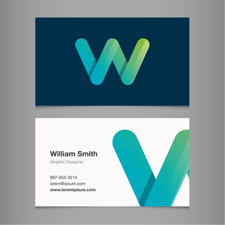 business letters: Business card with alphabet letter W.