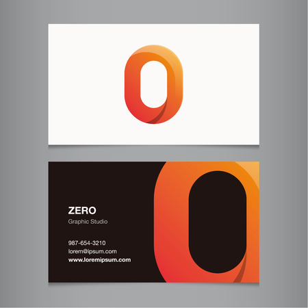 Business card with number 0. Vector template editable.