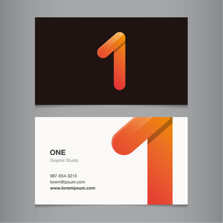 Business card with number 1. Vector template editable.  Vector