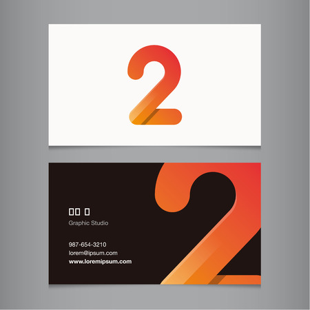 number four: Business card with number 2. Vector template editable.  Illustration