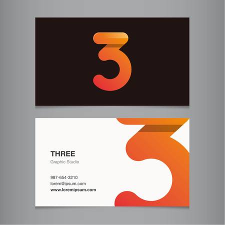 Business card with number 3. Vector template editable.  Vector