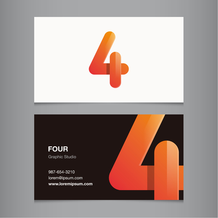Number 4: Business card with number 4. Vector template editable.  Illustration