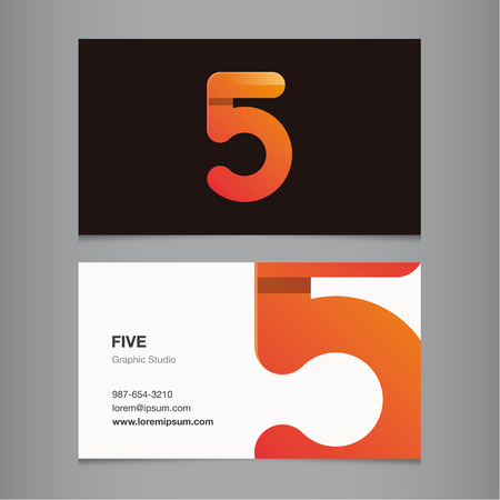 Business card with number 5. Vector template editable.  Vector