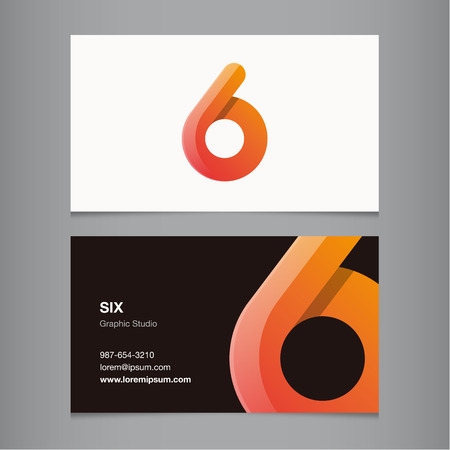 Business card with number 6. Vector template editable.  Illustration