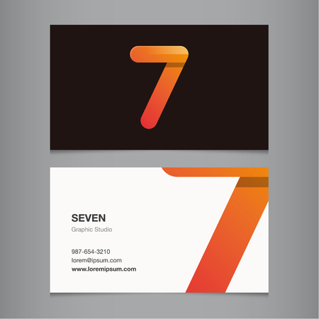 Business card with number 7. Vector template editable.  Vector