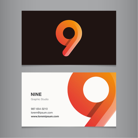 business banner: Business card with number 9. Vector template editable.  Illustration