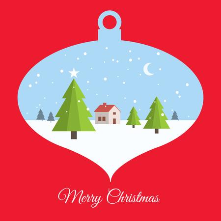 Merry christmas card, with christmas ball scene Vector
