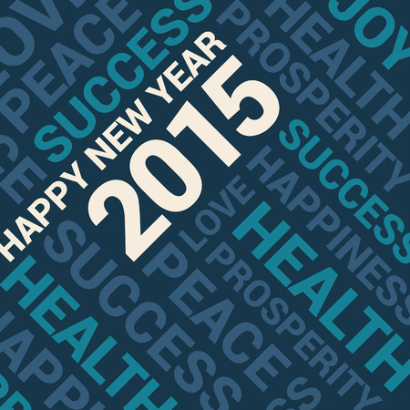 yea: Happy new year card, words cloud blue background