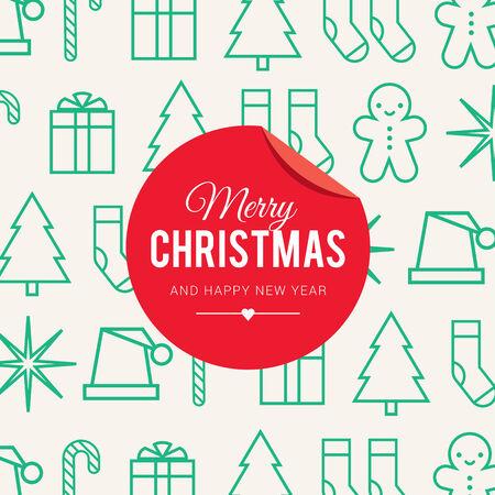 weihnachtskuchen: Weihnachtskarte mit Weihnachtssymbol und Symbol Illustration