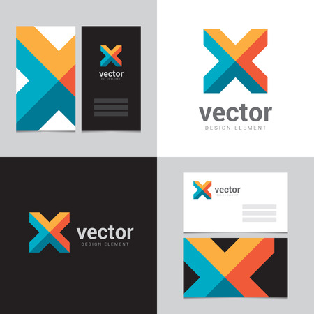 Design element with two business cards - 05 Vector