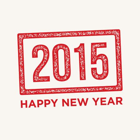 happy new year stamp: Feliz a�o nuevo, sello de goma