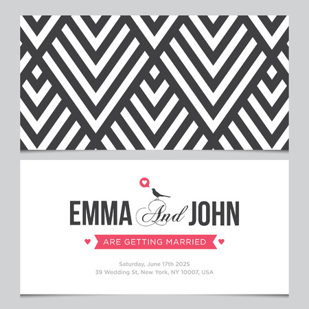 hexagone: Wedding card back and front with pattern background 01