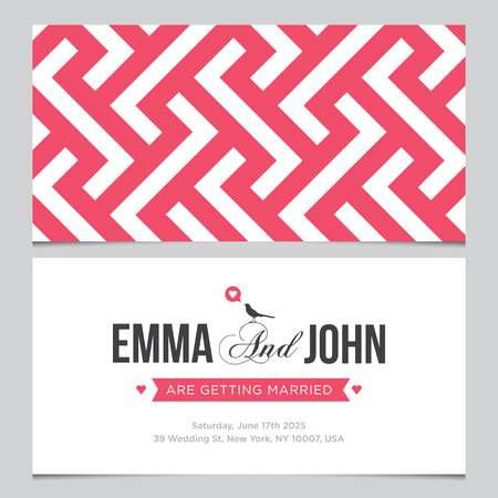 hexagone: Wedding card back and front with pattern background 02