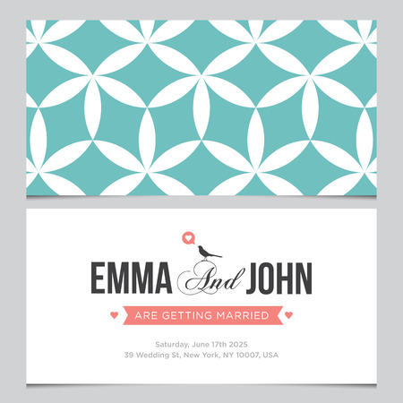 hexagone: Wedding card back and front with pattern background 03 Illustration