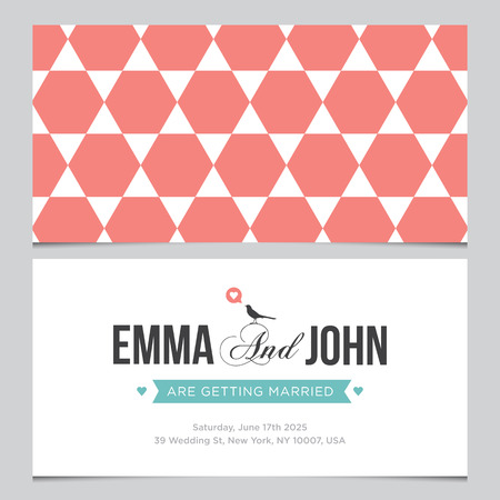 hexagone: Wedding card back and front with pattern background 04 Illustration