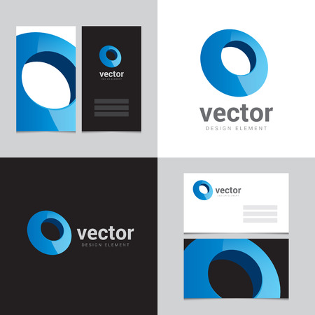 business card: Design element with two business cards - 09 Illustration