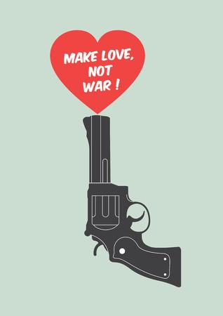 militaire sexy: affiche de citation avec le pistolet et le c?ur: Faites l'amour, pas la guerre