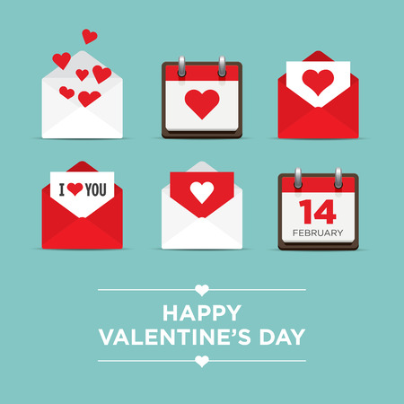 unusual valentine: Valentines day set of icons, letter, envelope, calendar, hearts