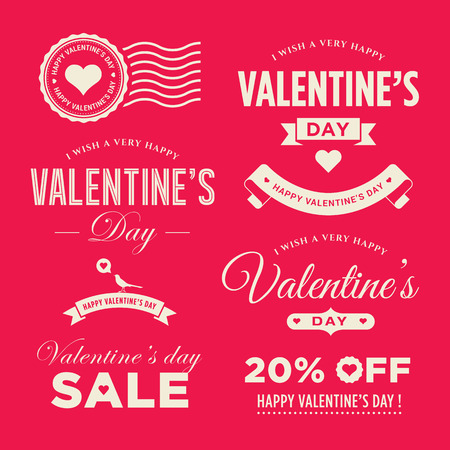 valentines day background: Valentines day set of label, badges, stamp and design elements Illustration