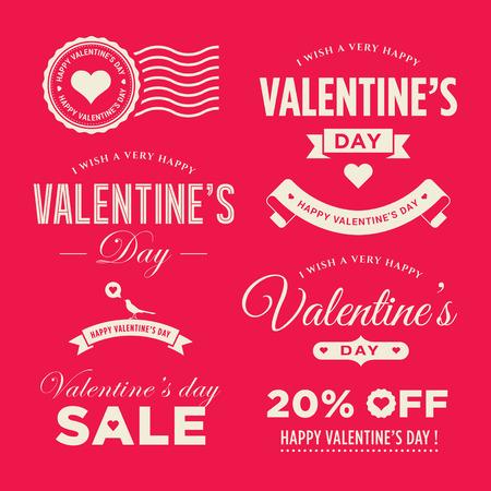 saint valentin coeur: Valentines ensemble d'�l�ments �tiquettes, badges, de timbres et de conception jour Illustration
