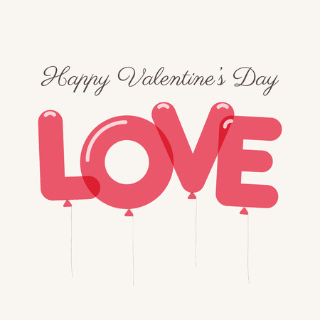 unusual valentine: Valentines day card with letters balloons