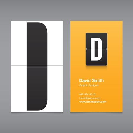 a d: Business card with alphabet letter D