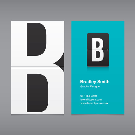 b: Business card with alphabet letter B