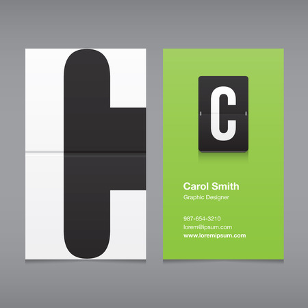 c design: Business card with a letter logo, alphabet letter C